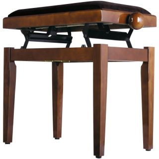 Panchetta Regolabile in Noce Lucido per Pianoforte / Seduta in Velluto02