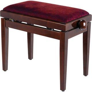 Panchetta Regolabile in Legno Lucido per Pianoforte / Seduta in Velluto Rosso