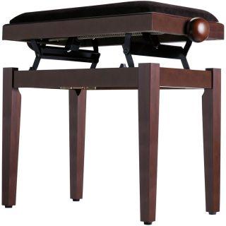 Panchetta Regolabile in Palissandro per Pianoforte / Seduta in Velluto Marrone02