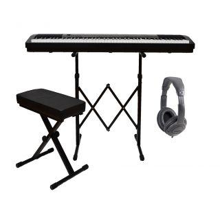 ROLAND FP30BK Pianoforte Digitale 88 Tasti Nero / Cuffia Monitor Professionale / Panchetta Nera Regolabile / Stand