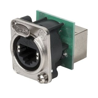0 DAP-Audio - Ethernet RJ45 D-size chassis - Connettore passante in flangia metallica di tipo D con sistema di aggancio sicuro. Nichel