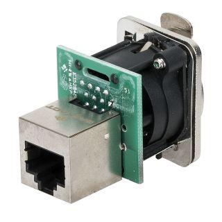 1 DAP-Audio - Ethernet RJ45 D-size chassis - Connettore passante in flangia metallica di tipo D con sistema di aggancio sicuro. Nichel