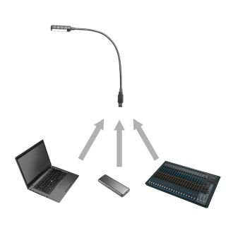 7 Adam Hall Stands SLED 1 ULTRA USB - Lampada a collo di cigno USB con 4 COB LED