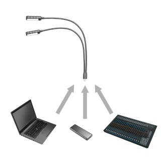 6 Adam Hall Stands SLED 2 ULTRA USB - Lampada a collo di cigno LED con collegamento USB