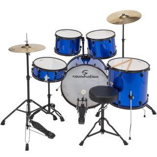 Soundsation Batteria Acustica con Sgabello Piatti Bacchette Metallic Blue | Musical Store 2005