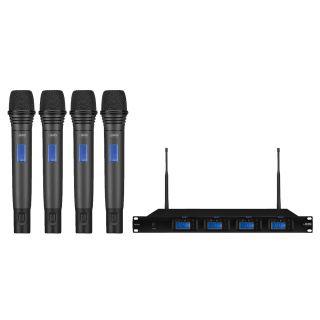 IMG Sistema Microfonico Wireless Professionale UHF 1000 Canali / 4 Palmari