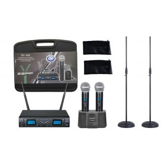 ZZIPP Singer Pack Doppio Radiomicrofono Palmare UHF / Stazione di Ricarica / Aste Microfoniche Dritte / Custodie e Case Bundle