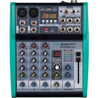 ZZIPP ZZMXBTE4 Mixer Audio 4 Canali USB MP3 Bluetooth DJ Studio Karaoke Effetti